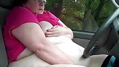 BBW masturbating in car park several times