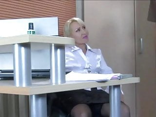 Pretty blond milf Pretty blonde milf secretary in stockings needs a young cock