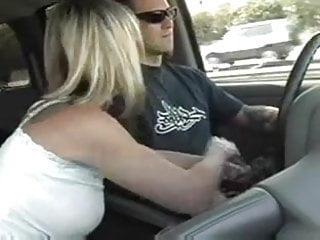 Driving he naked she He drives, she masturbates him