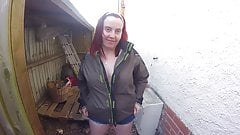 Coat and Shorts Flashing in the yard