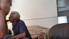 White haired grandpa sucking big dick