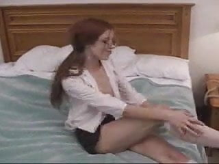 Flatchested fetish Flatchested, yet somehow saggy redhead gives bj