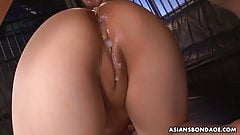 Submissive Asian bimbo tormented and ass fucked by horny gan