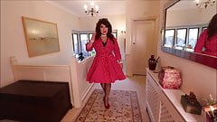 SIndy in red with white polka dots