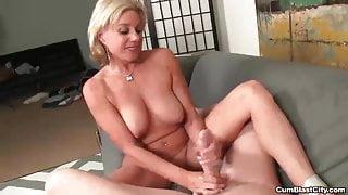 Horny milf gets splattered with hot cum