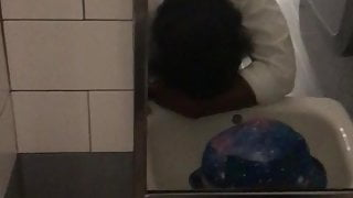 FUCKING ON HER LUNCH BREAK !!! Bathroom sink action hold on