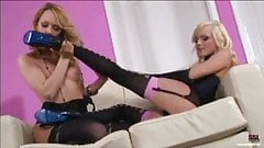 Blonde girlfriends having lesbo fun