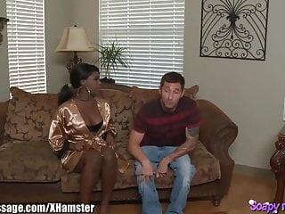 Tit massage sensual Ebony beauty gives a sensual soapy massage