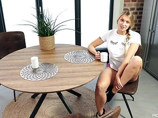 Vintage enamel top kitchen table Blonde babe gets fucked to orgasm on the kitchen table