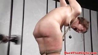 Classy slave flogged hard
