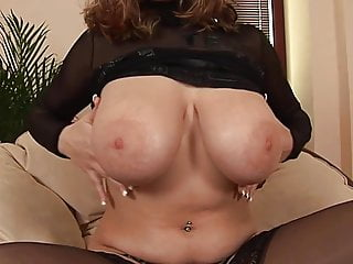 Tits rubbed - Eu babe in black stockings rubs big tits toys her pussy