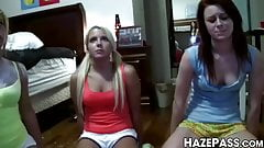 Sorority lesbians sensually scissoring after pussy licking