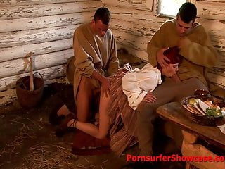 Anal popping Peasant girl gets her pooper popped with pricks