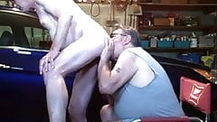 Cock sucking and riming in garage