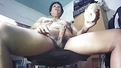 Thai jerking off with homemade pocket pussy