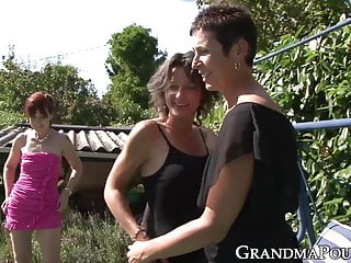 Man fucking mature ladies outdoors - Mature ladies internationally fucked in an outdoor orgy