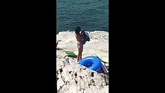 Beach Voyeur on Vacation at Marseille Italian Gramma and Mom