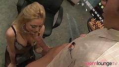 Blonde sucks office nerd's big cock
