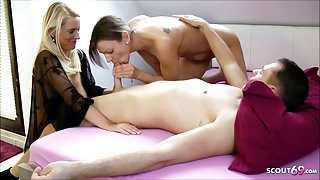 Daughter caught Stepmom with her BF and Joins For A Threesome, German