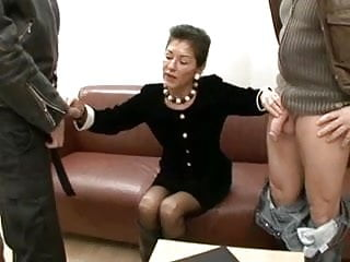 Gay grannies - German hairy granny mature in black lingerie threesome troia takes hard cock in the ass all the way