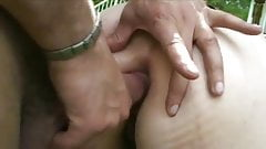 Two French milf sluts fucked in the ass and making out