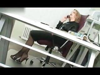 Foot femdom boss lady video clips Nylon lady boss