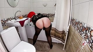 Milf in the bathroom got a fat cock in the ass