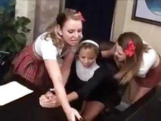 Lesbian initiation - Schoolgirls initiate nuns...f70