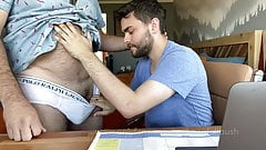Hairy Dad lets cute boy use his computer