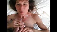 Mature wife blowjob handjob and cumshot
