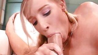 Sexy blonde deep throats a hard throbbing cock