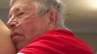 chubby grandpa plays with ass