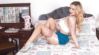 Leggy busty blonde fingers tight hole in garters stockings