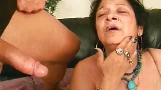 Granny Receives Facial Cumshot After Blowjob