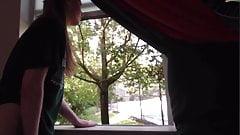 Sweet 18 Year Girl with Dildo on Window