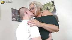 Mature 55YO mother fucks her son's friend