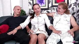German Mature Couple First Cuckold Threesome with Stranger
