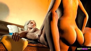 Witcher FUTA Triss Merigold shemale fucking Ciri 3D Animated