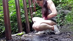 Girl Pees in different places