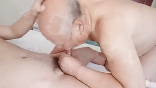 Lovely chinese grandpa sucking cock & getting fucked