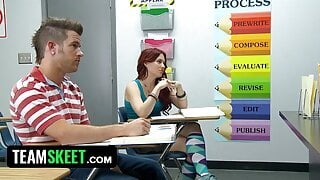 Desperate Teen Gives Blowjob For Test Answers
