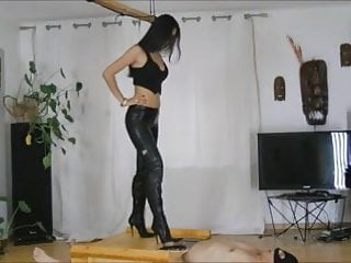 Crushing cum out of balls Balls crushed by thigh-highs