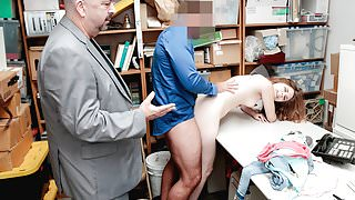 Shoplyfter - Teen Arrested And Fucked In Front Of step dad