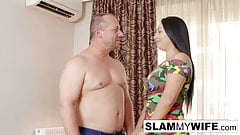 Sexy brunette gets fucked hard in front of her husband