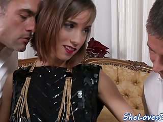 Hard cock gagging Dp screwed eurobabe gags on a hard cock