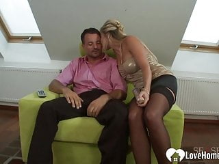 Have to pee but cannot - Aroused blonde in stockings cannot have enough dick
