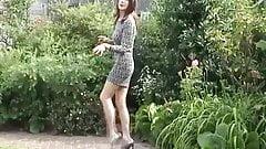 Sexy Milfy Tgirl Carley Mincing In The Garden