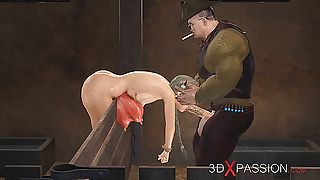 Farmer fucks sexy young woman hard with cow horns in cowshed