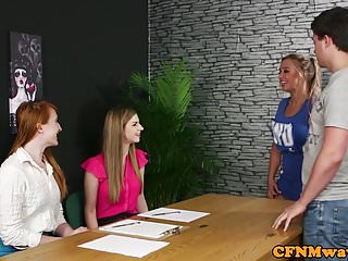 Girl tug sex - Glamorous cfnm femdoms tugging sub in group