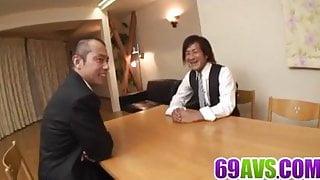 Kitchen hardcore anal in threesome with Hibiki Ohtsuki